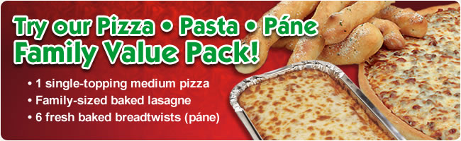 Try our Pizza, Pasta, Pane Family Value Pack